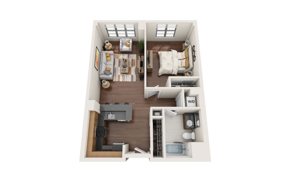 1.0 - 1 bedroom floorplan layout with 1 bath and 750 square feet.