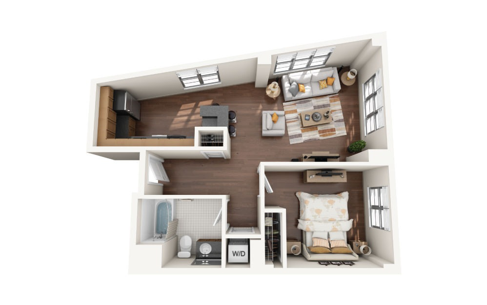 1.1E - 1 bedroom floorplan layout with 1 bath and 790 square feet.
