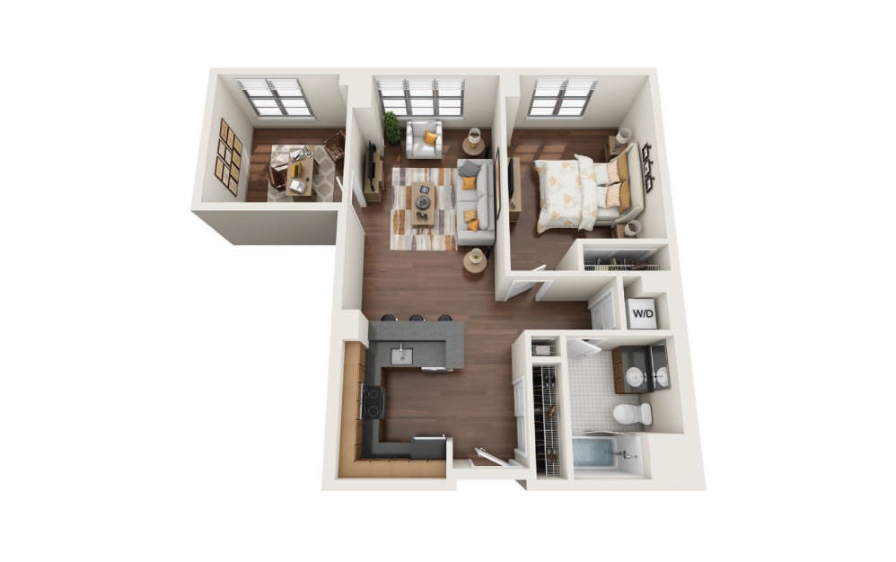 1.1W - 1 bedroom floorplan layout with 1 bath and 890 square feet.