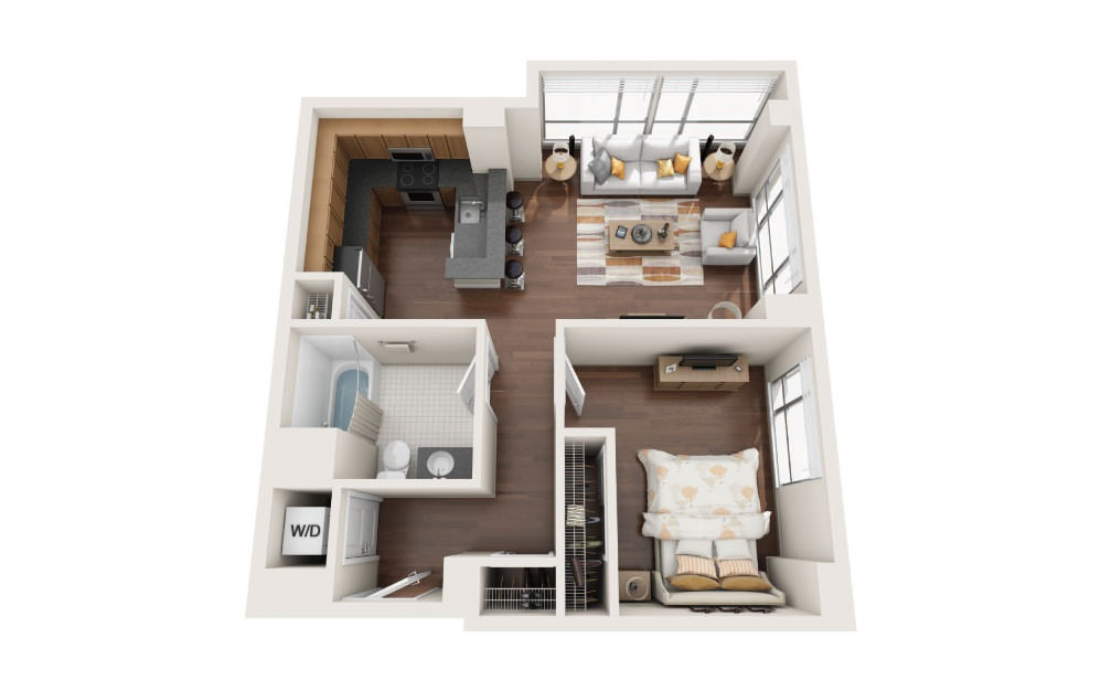 1.2E - 1 bedroom floorplan layout with 1 bath and 790 square feet.