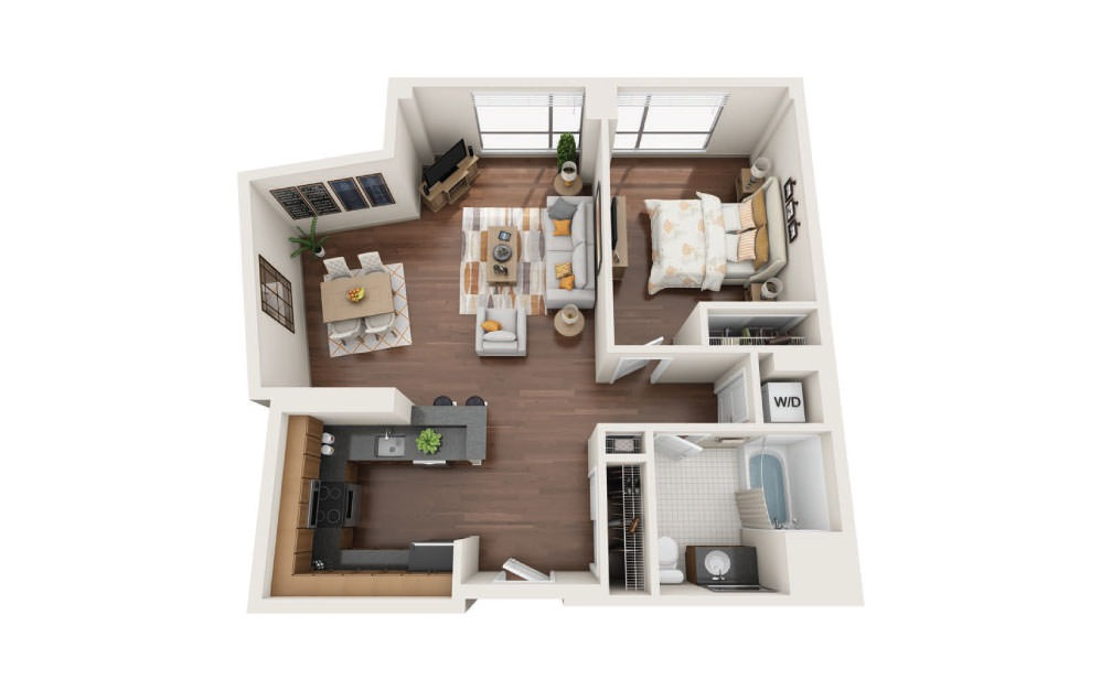 1.2W - 1 bedroom floorplan layout with 1 bath and 890 square feet.