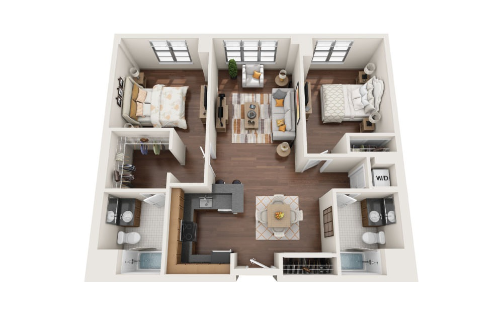 2.0 - 2 bedroom floorplan layout with 2 baths and 1130 square feet.