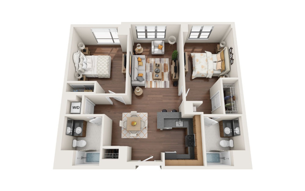 2.1E - 2 bedroom floorplan layout with 2 baths and 1130 square feet.
