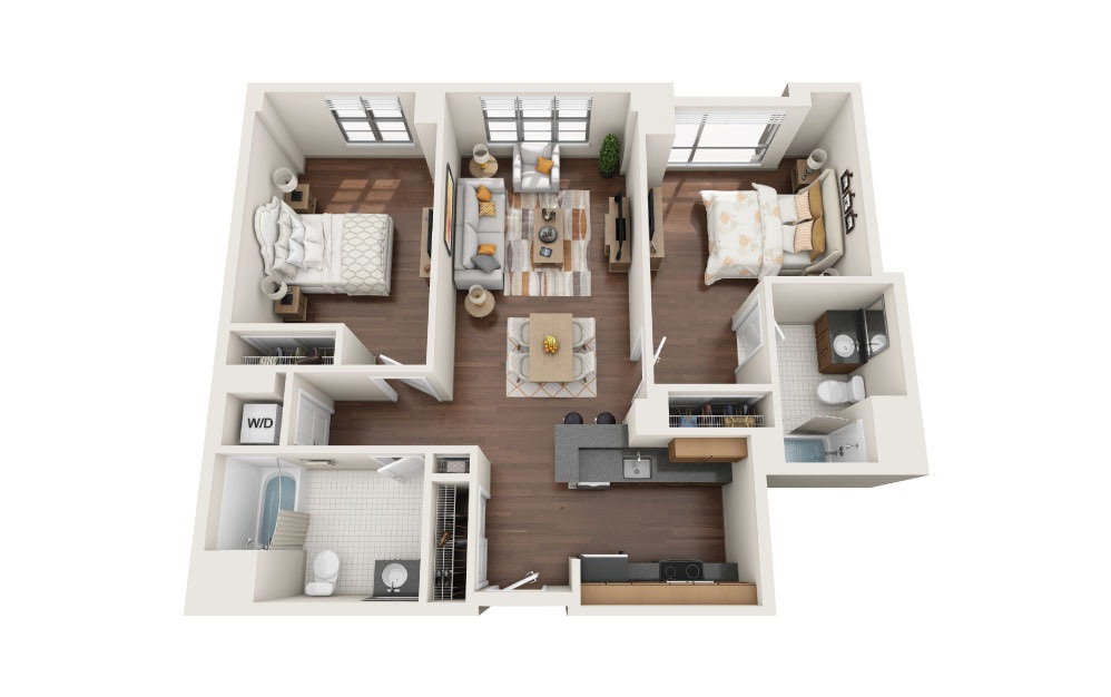 2.2W - 2 bedroom floorplan layout with 2 baths and 1130 square feet.