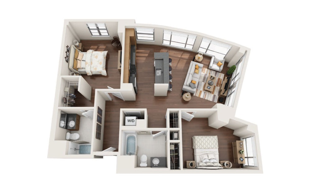 2.3E - 2 bedroom floorplan layout with 2 baths and 1240 square feet.