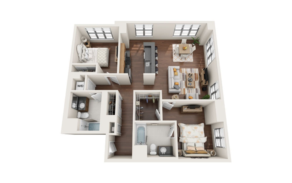 2.4E - 2 bedroom floorplan layout with 2 baths and 1240 square feet.