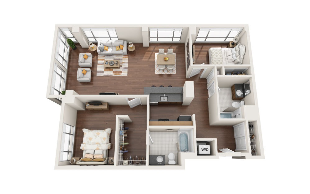 2.4W - 2 bedroom floorplan layout with 2 baths and 1410 square feet.