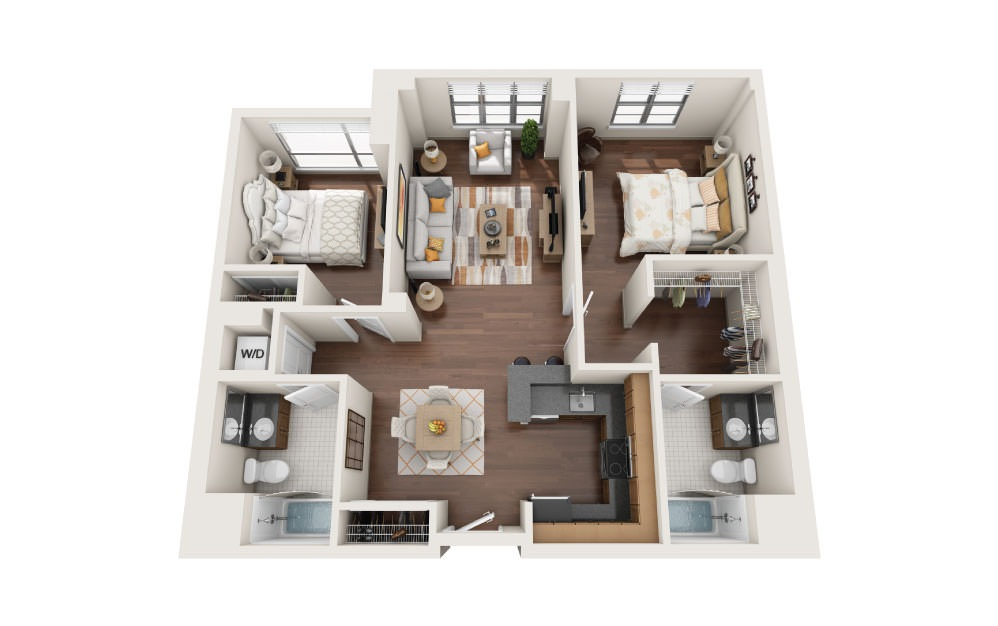 2.5E - 2 bedroom floorplan layout with 2 baths and 1085 square feet.