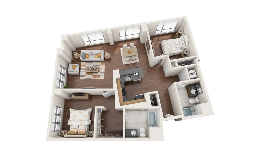 2.5W - 2 bedroom floorplan layout with 2 baths and 1290 square feet.