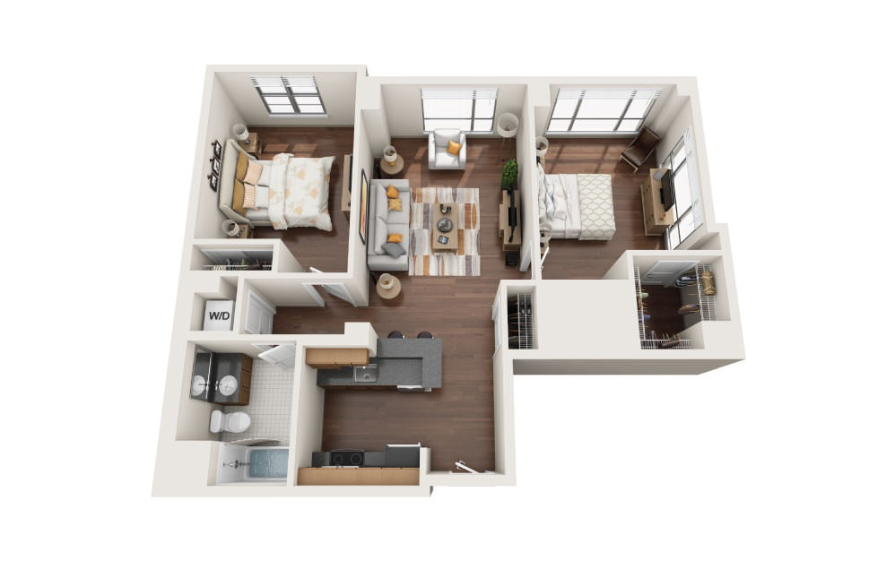 2.6E - 2 bedroom floorplan layout with 1 bath and 1025 square feet.