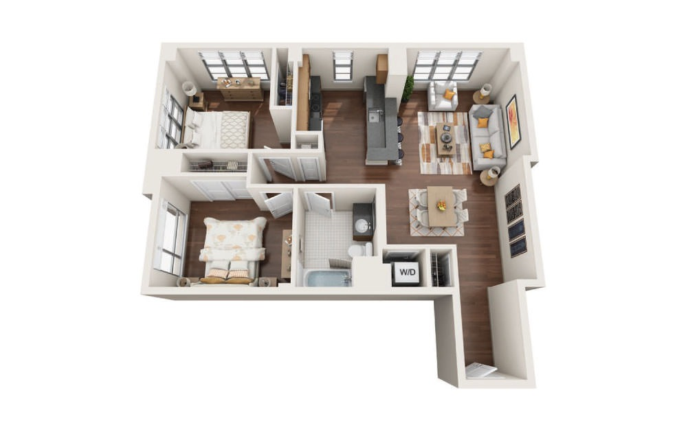 2.6W - 2 bedroom floorplan layout with 1 bath and 970 to 1025 square feet.