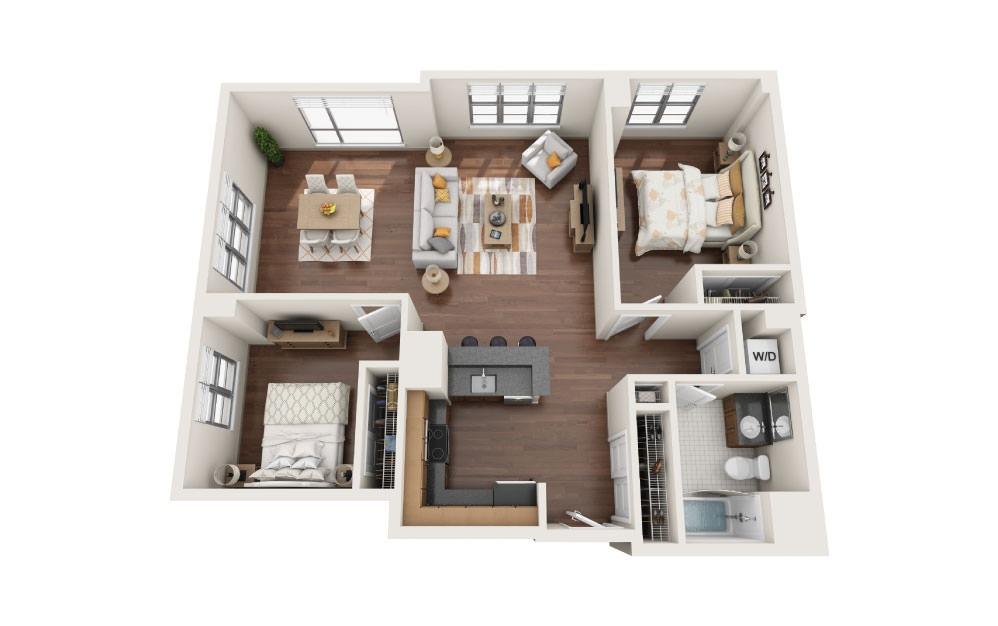2.7W - 2 bedroom floorplan layout with 1 bath and 1130 to 1185 square feet.