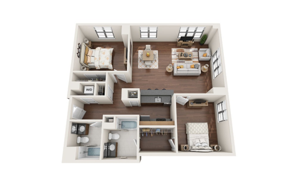 2.8W - 2 bedroom floorplan layout with 2 baths and 1290 square feet.
