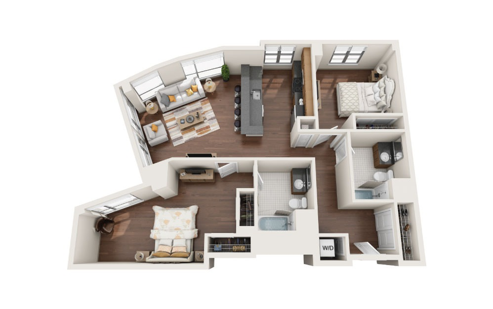 2.9W - 2 bedroom floorplan layout with 2 baths and 1240 square feet.