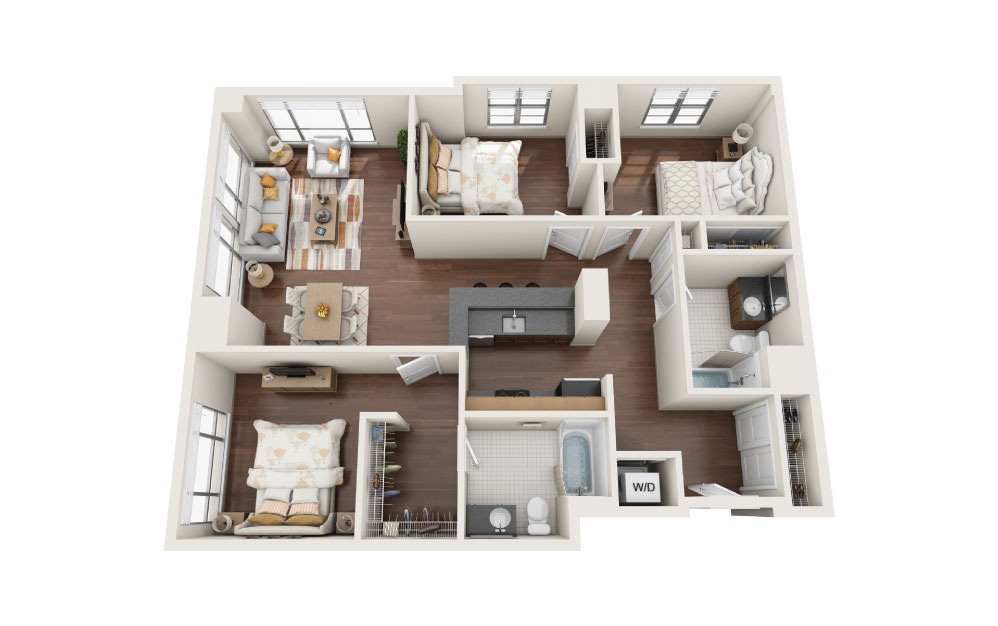 3.4W - 3 bedroom floorplan layout with 2 baths and 1410 square feet.