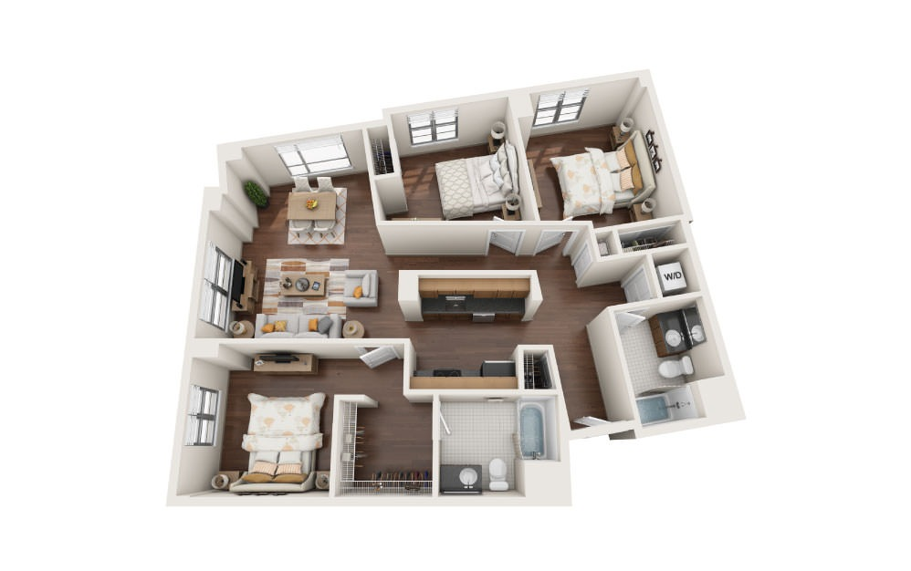 3.5W - 3 bedroom floorplan layout with 2 baths and 1340 square feet.