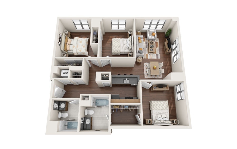 3.8W - 3 bedroom floorplan layout with 2 baths and 1290 square feet.