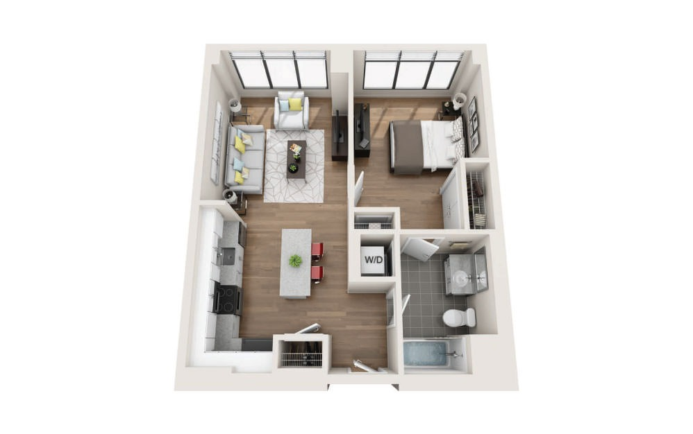 1B - 1 bedroom floorplan layout with 1 bath and 693 square feet.