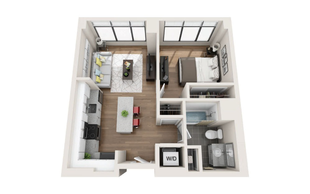 1C - 1 bedroom floorplan layout with 1 bath and 579 square feet.