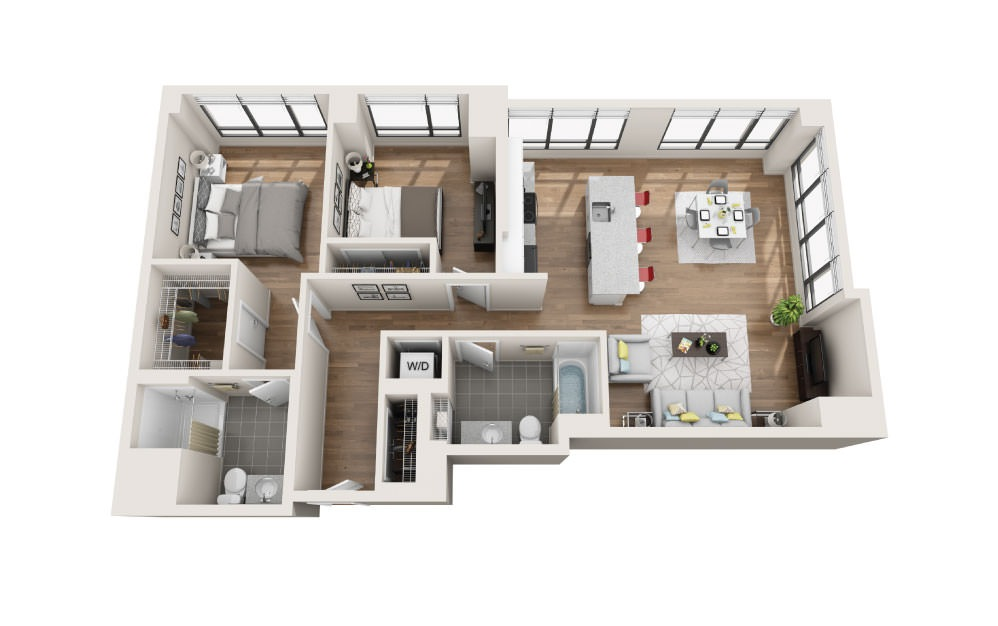 2A - 2 bedroom floorplan layout with 2 baths and 1184 square feet.