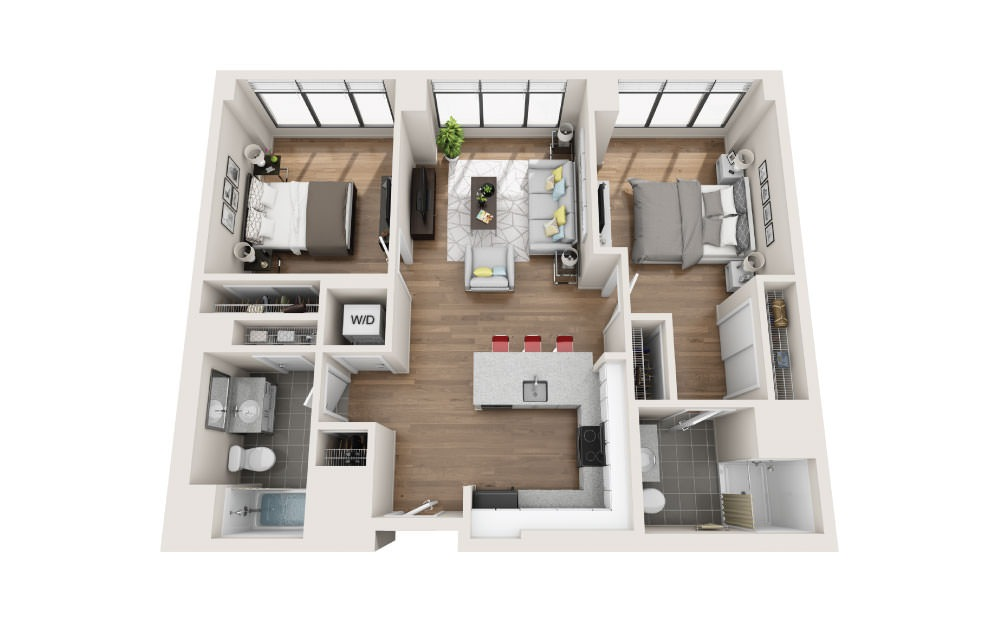 2B - 2 bedroom floorplan layout with 2 baths and 1000 square feet.