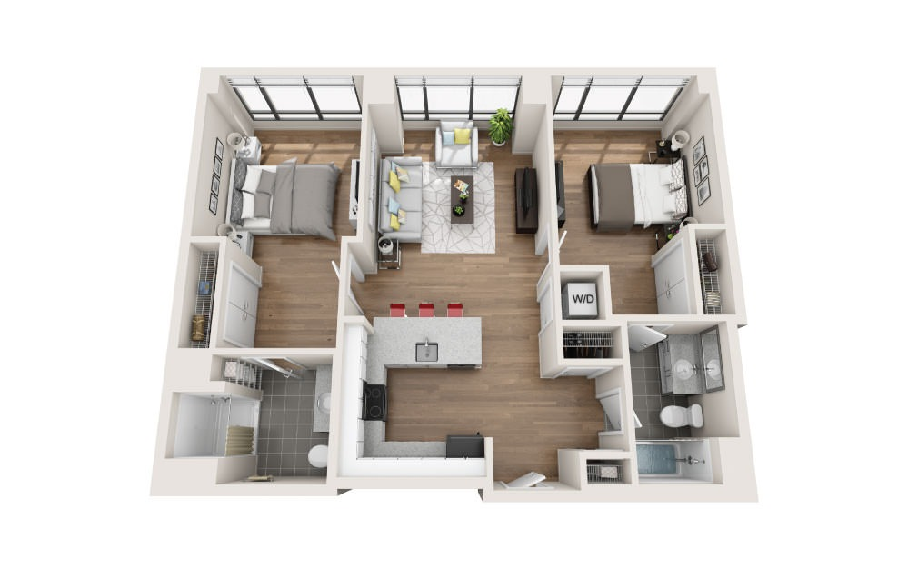 2D - 2 bedroom floorplan layout with 2 baths and 1060 square feet.