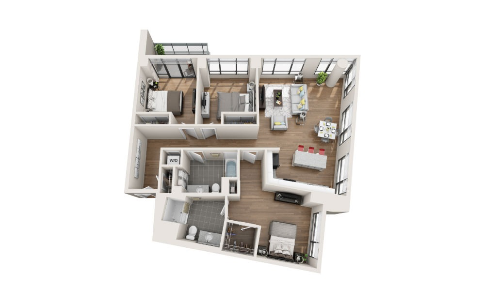 3A - 3 bedroom floorplan layout with 2 baths and 1431 square feet.