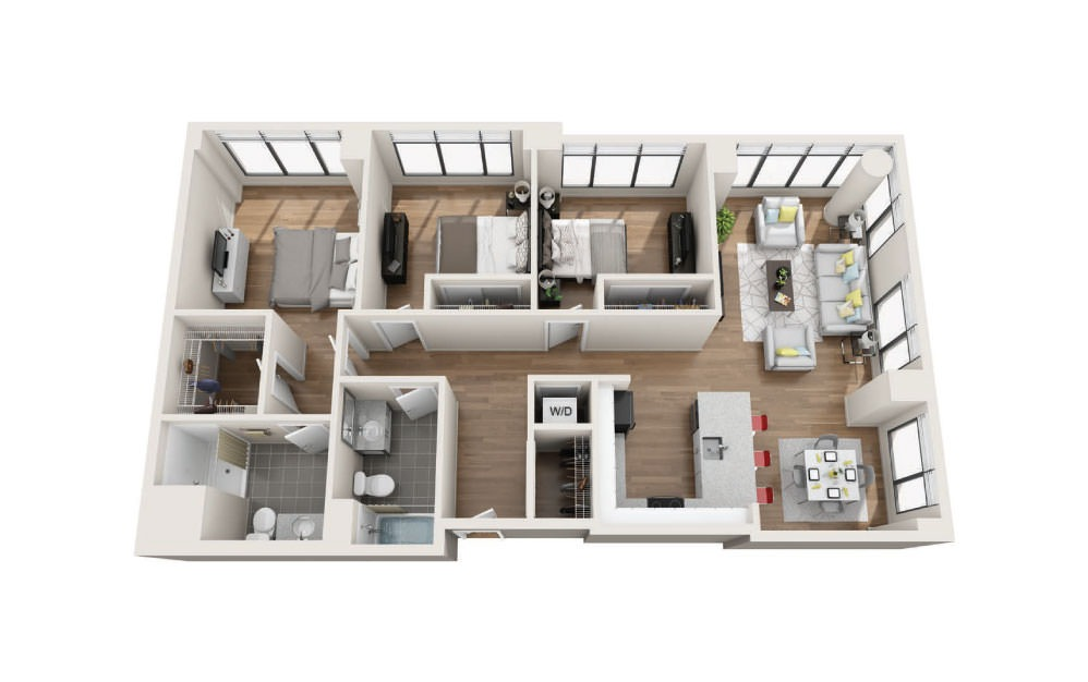 3B - 3 bedroom floorplan layout with 2 baths and 1379 square feet.